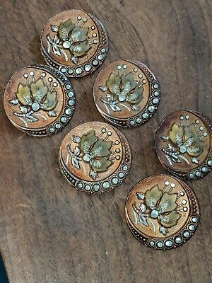 Gorgeous Set of 6 Antique Victorian Metal Picture BUTTONS Flowers w/ Cut Steels