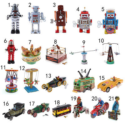 21 Options Vintage Mechanical Wind Up Walking Robot/Car/Plane/Carousel Tin Toy