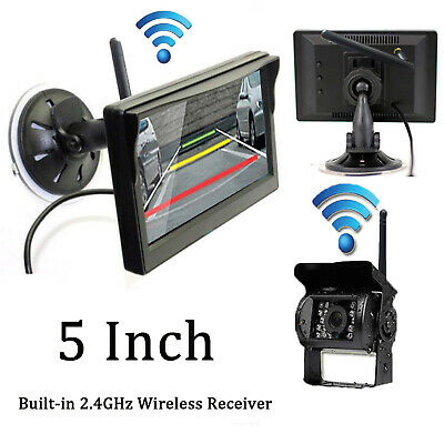 "Wireless Car Parking Reversing Camera + 5"" Rear View Monitor Kit Truck Bus Van"
