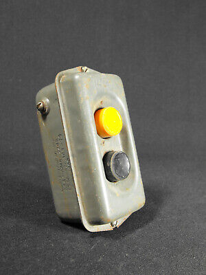 Vintage Industrial START STOP machinery pushbutton switch USSR factory loft