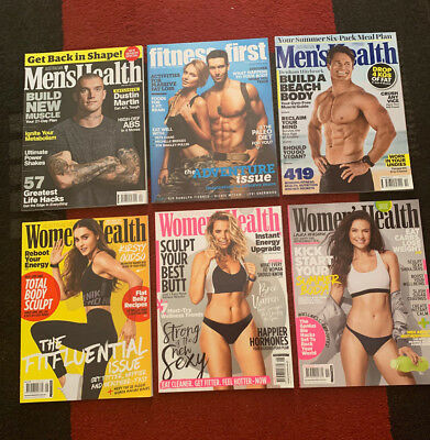 Men's Health Women's Health and Fitness First Magazine Bulk Lot of 6 Magazines