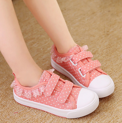 Toddler Girls Boys Canvas Shoes Kids Sport Sneakers Children Lace Walking Shoes