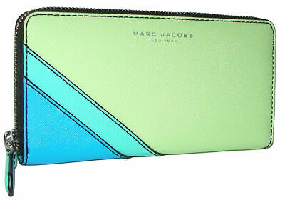 Marc Jacobs Snap Pocket Vertical Zippy Wallet in Ultra Blue Pebbled Leather $200