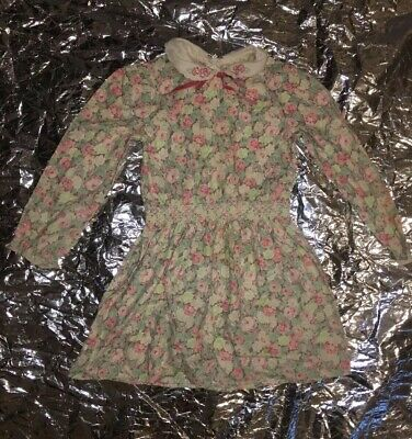 St Michael 4 Years Genuine Vintage 80s Dress Floral Print Smock Lace Retro Bow