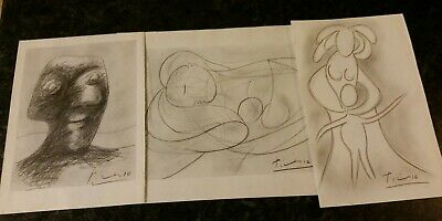 Three Unframed Drawings Signed Picasso