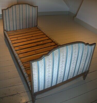 Antique Single French Embroidered Bed.  Moire Fabric.  Louis XVI Style. Antique
