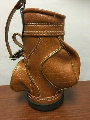 "Vintage Mini Leather Golf Club Bag Wine Bottle Tote Holder 15"" Vino Brown"
