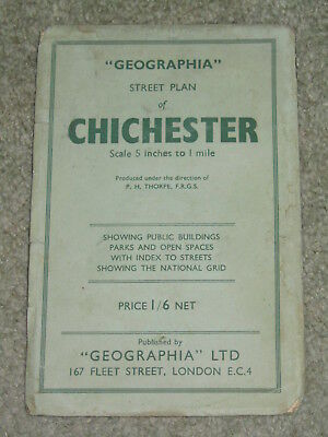 """Geographia vintage street plan of Chichester - 5"""" to 1 mile - paper 1930s?"""