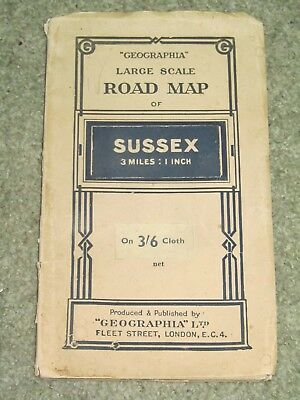 """Geographia vintage Road Map of Sussex - 3 miles to 1"""" - on cloth - 1930s?"""