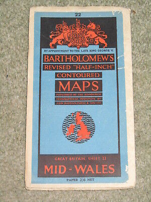 Vintage 1945 Bartholomews Half Inch Map - Mid-Wales - sheet 22 on paper