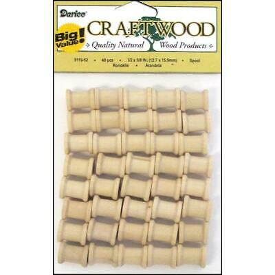 "Darice Wood Turning Shapes - 40pcs Spools ½"" x ⅝"""