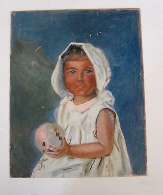 Antique Original Portrait Oil Painting of Little Baby Girl Holding Ball on board