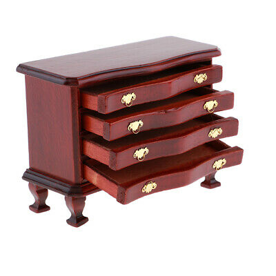 1/12 Dollhouse Miniature Living Room Wooden 4-Drawer Cabinet Furniture Brown