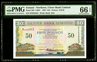 £50 1997 Ireland - Northern, Ulster Bank Limited PMG 66 EPQ Gem Uncirculated