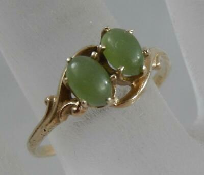 Vintage Estate 14 Karat Yellow Gold Double Jade Cabochon Ring Size 7 10K F0882