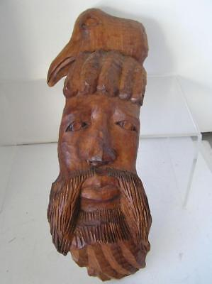 "Vintage Wood carved Beaded Man face Eagle Totem Wall Hanging Sculpture 15"" tall"