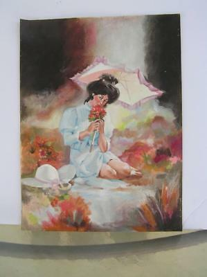 "Original Oil panting on canvas Victorian Lady with Umbrella 16"" x 12"""