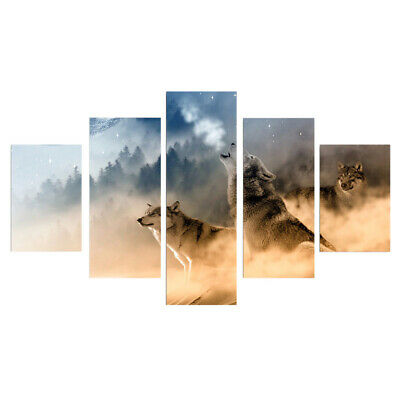"""5 Panel Painting PRINT Modern Art Wall Decor Canvas The Wolves """"no frame"""" L"""