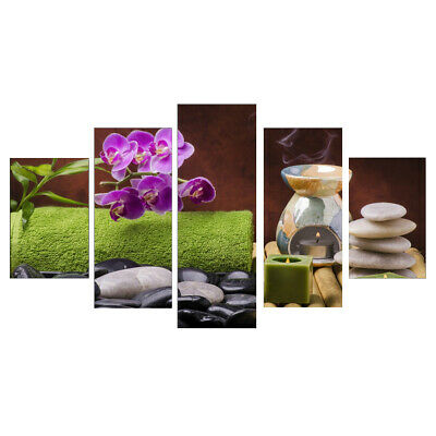 """5 Panel Painting PRINT Modern Art Wall Decor Canvas Orchid """"no frame"""" L"""