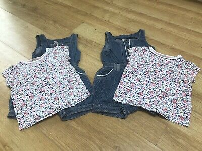 Twin Girls Matching Spring/Summer Short Dungarees & T-shirts. Age 1.5-2. VGC.