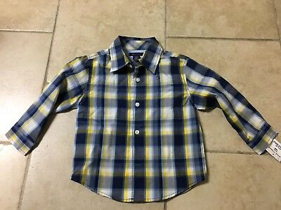 NWT Tommy Hilfiger Blue/yellow Plaid Button Up Shirt, Boys Size 18 Months