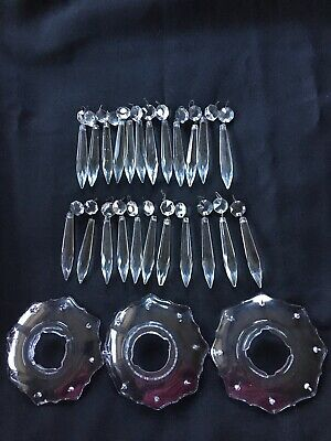 Lot 3 Of Bobeche 23 Crystal Cut Drops Chandelier Spare Parts