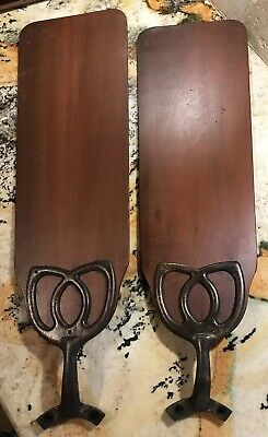 Antique 1930s 24 Inch Ornate Ceiling Fan Blades With Cast Iron Arms Hunter Or GE