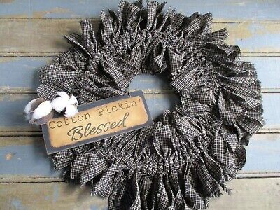 Americana Cotton Pickin' Blessed Welcome Primitive Rag Wreath