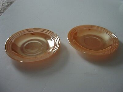 Vintage Fireking Ware Peach Lustre Ware Saucer Set Of 2 Ridged  Oven Safe