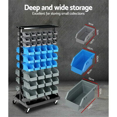 9-Tier Bin Storage Rack Garage Tool Parts Shelving Double-Sided Organizer Shelf