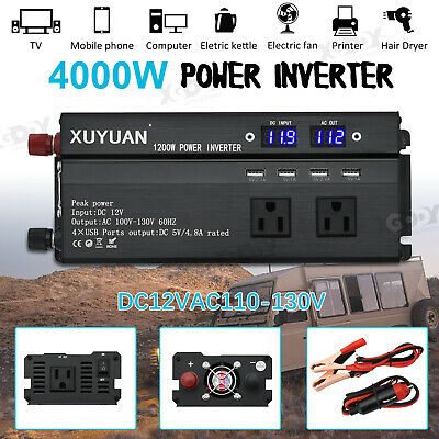 3000W/4000W/5000W Car Power Inverter Sine Wave DC12V To AC110V LED 4 USB Black