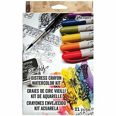 Ranger Tim Holtz Distress Crayon Watercolor Kit - Crayon, Stamps, Paper, and Ink