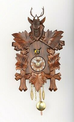 German Black Forest Cuckoo Clock Quartz movement, cuckoo, 5 leaves,deer head