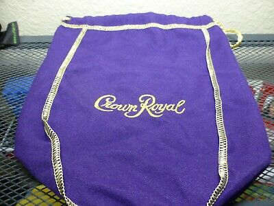NEW  1 Crown Royal Purple Felt Cloth gold  Drawstring Purple Bag