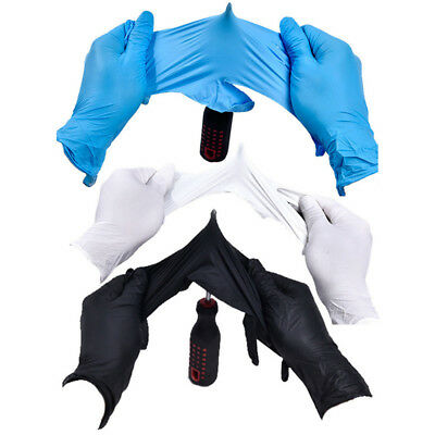 100Pcs Comfortable Rubber Mechanic Nitrile Gloves Black Exam