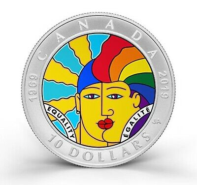 1969-2019 50th Anniversary of EQUALITY - $10 Pure Silver Full-Colour Coin Canada