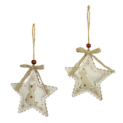 Special Offer Star Pendant Christmas Tree Ornament from Metal with Linen Fabric