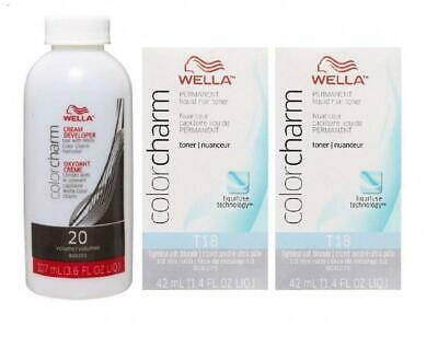 Wella Color Charm T18 Lightest Ash Blonde 2-Pack with CC Cream 20 Developer...