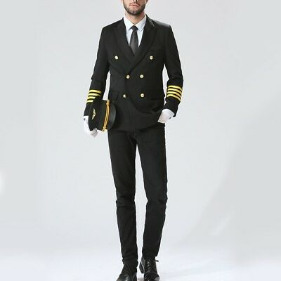 Men Peak Lapel Airline Pilot Captain Set Aviator Costume Uniform Fancy Dress New