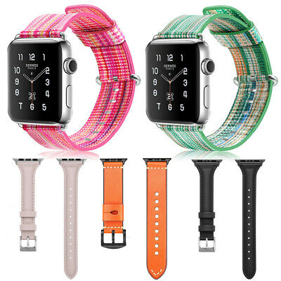 For iWatch Apple Watch Series 3 2 1 38mm Genuine Leather Band Strap Bracelet