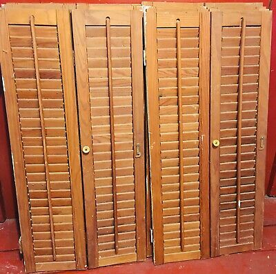 Vintage Architectural Salvage Folding Pair Of Wood Window Shutters With Hardware