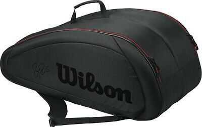 **New** Wilson Federer Team 12 Pack Tennis Bag (Black/Red) Wrz833712