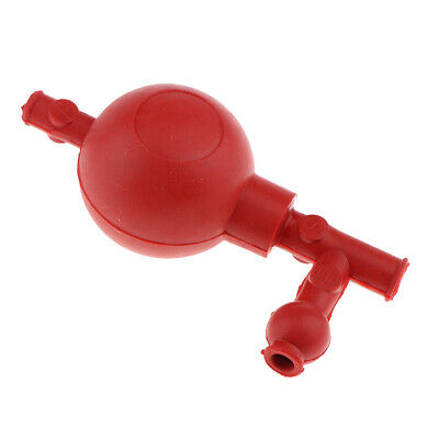 Pipette Filling Bulb 3 Way Valve Safety Pipet Filler Bulb Lab Supply - Red