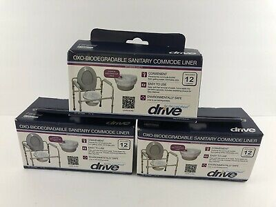 DRIVE MEDICAL OXO-BIODEGRADABLE SANITARY COMMODE LINERS - 3 BOXES (36 Total)