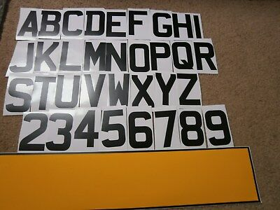 Self Adhesive / Stick On Vinyl Blank Number Plate   Oblong In Yellow + 7 Digits