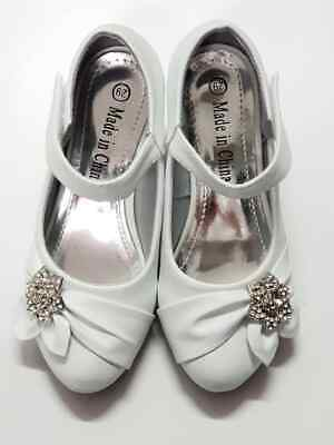 Girl Formal Shoes Size 10 - 12 Party Strap Diamante Occasion Dressy BB48B White