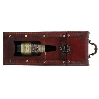 Portable Vintage Single Bottle Red Wine Box Gift Wood Storage Box Carrier Case