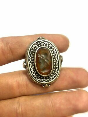 Antique Natural Agate Size 9.75US 925 Silver Roman King Intaglio Signet Ring