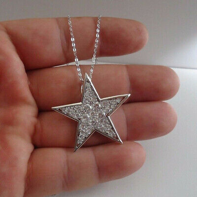 """1.50 Ct Round Diamond Star Pendant Necklace With 18"""" Chain 925 Sterling Silver"""