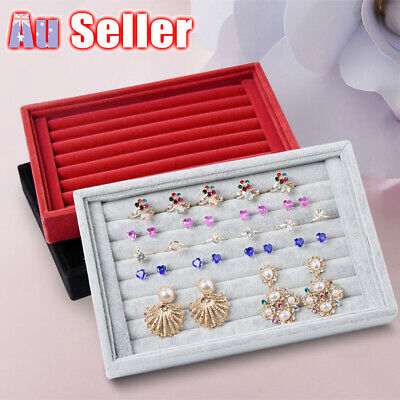 Display Box Earring Velvet Organizer Ring Tray Holder Show Jewelry Case Storage
